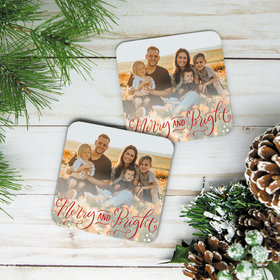 Personalized Cork Coaster, Merry and Bright