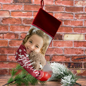 Personalized Christmas Stocking Photo Upload Choose Word