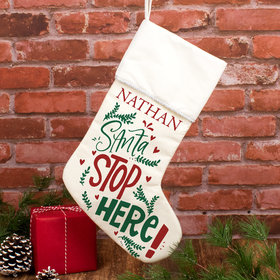 Personalized Christmas Stocking Santa Stop Here