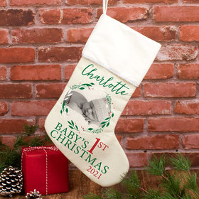 Personalized Christmas Stocking Babies First Xmas Photo