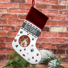 Personalized Christmas Stocking Cat Photo