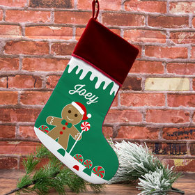 Personalized Christmas Stocking Gingerbread Character Boy