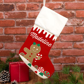 Personalized Christmas Stocking Gingerbread Character Girl