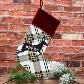 Personalized Christmas Stocking Plaid Reindeer