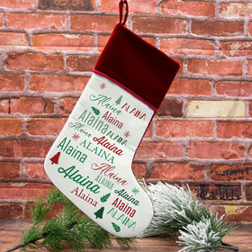 Personalized Christmas Stocking Repeating Name