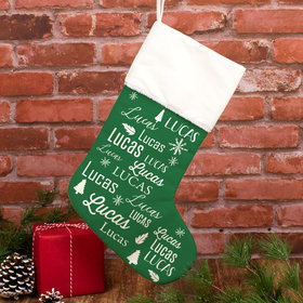 Personalized Christmas Stocking Repeating Name Solid