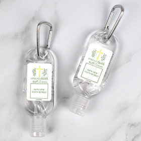 Personalized Hand Sanitizer with Carabiner Spread Faith Not Germs 1 fl. oz bottle