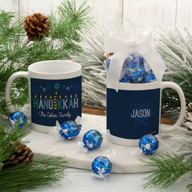 Personalized Happy Hanukkah 11oz Mug with Lindt Truffles