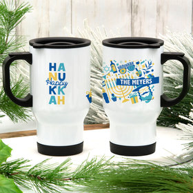 Personalized Happy Hanukkah Icons Stainless Steel Travel Mug (14oz)