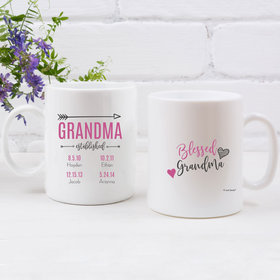 Personalized Grandma 11oz Empty Mug - Blessed with 4