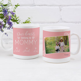 Personalized Mother 11oz Empty Mug - Our Hearts Belong to Mommy 3