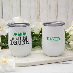 Personalized St. Patrick's Day A Wee Bit Drunk Wine Tumbler (12oz)