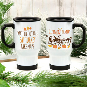 Personalized Family Thanksgiving Stainless Steel Travel Mug (14oz)