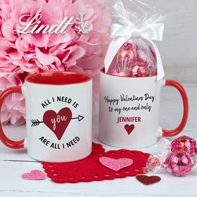 Personalized All I Need is You 11oz Mug with Lindor Truffles by Lindt