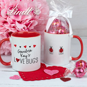 Personalized Two Love Bugs 11oz Mug with Lindor Truffles by Lindt