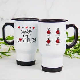 Personalized Travel Mug (14oz) - Four Love Bugs