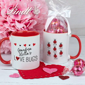 Personalized Seven Love Bugs 11oz Mug with Lindor Truffles by Lindt