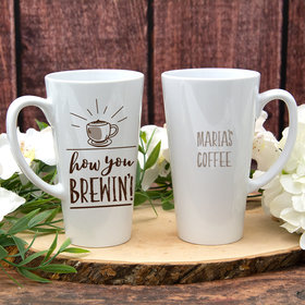 Personalized 17oz White Latte Mug - How You Brewin'