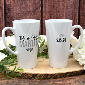 Personalized 17oz White Latte Mug - Mr & Mrs
