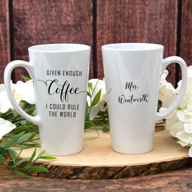 Personalized 17oz White Latte Mug - I Could Rule the World