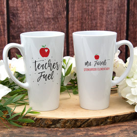 Personalized 17oz White Latte Mug - Teacher Fuel
