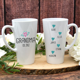 Personalized 17oz White Latte Mug - Grandma Est. (5 names)