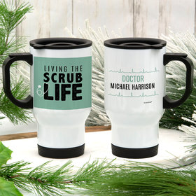 Personalized Scrub Life Stainless Steel Travel Mug (14oz)