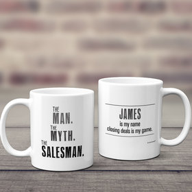 Personalized The Man, The Myth, The Salesman 11oz Mug Empty