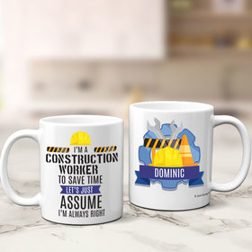 Personalized Construction Worker 11oz Mug Empty