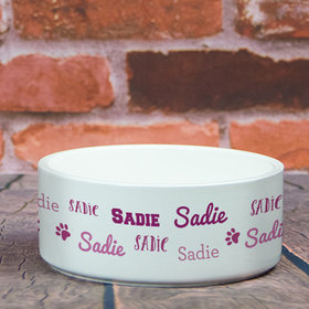 Personalized Pet Bowl - Large Pink Dog Repeating Name