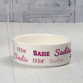 Personalized Pet Bowl - Small Pink Dog Repeating Name