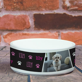 Personalized Pet Bowl - Large Pink Pet Photo