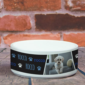 Personalized Pet Bowl - Large Blue Pet Photo
