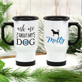 Personalized About My Dog (Beagle) Stainless Steel Travel Mug (14oz)
