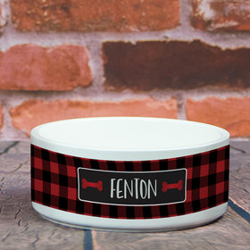 Personalized Pet Bowl - Large Buffalo Checker