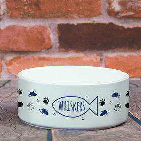 Personalized Pet Bowl - Large Cat Name Icon