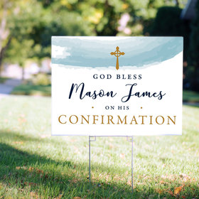 Personalized Confirmation Watercolor God Bless - Yard Sign