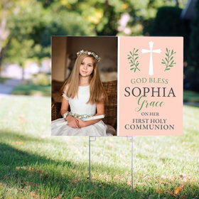 Personalized Communion Pink God Bless - Yard Sign