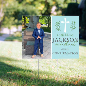 Personalized Confirmation Blue God Bless - Yard Sign
