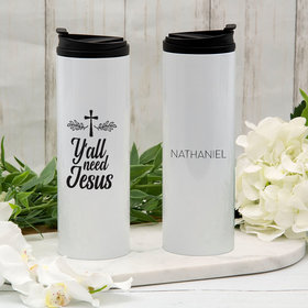 Personalized Y'all Need Jesus Stainless Steel Thermal Tumbler (16oz)
