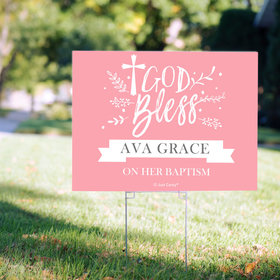 Personalized Baptism Floral God Bless - Yard Sign