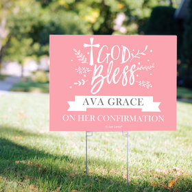 Personalized Confirmation Floral God Bless - Yard Sign