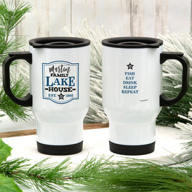 Personalized Family Blue Lake House Stainless Steel Travel Mug (14oz)