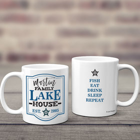 Personalized Family Blue Lake House 11oz Mug Empty