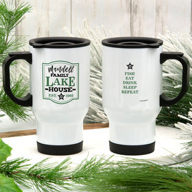 Personalized Family Green Lake House Stainless Steel Travel Mug (14oz)