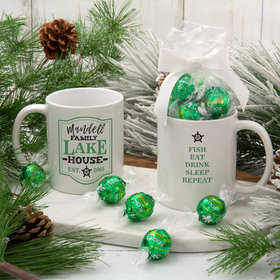 Personalized Family Green Lake House 11oz Mug with Lindt Truffles