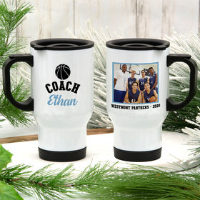 Personalized Travel Mug (14oz) - Basketball Coach with Photo
