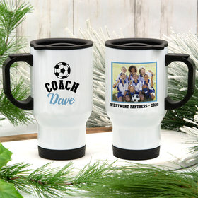 Personalized Travel Mug (14oz) - Soccer Coach with Photo
