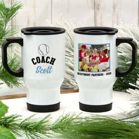 Personalized Travel Mug (14oz) - Baseball Coach with Photo