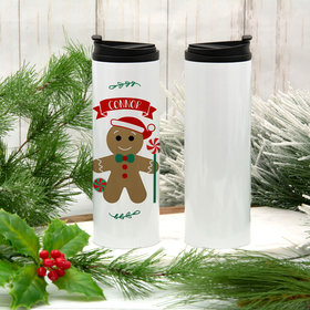 Personalized 16oz Stainless Steel Thermal Tumbler- Gingerbread Boy